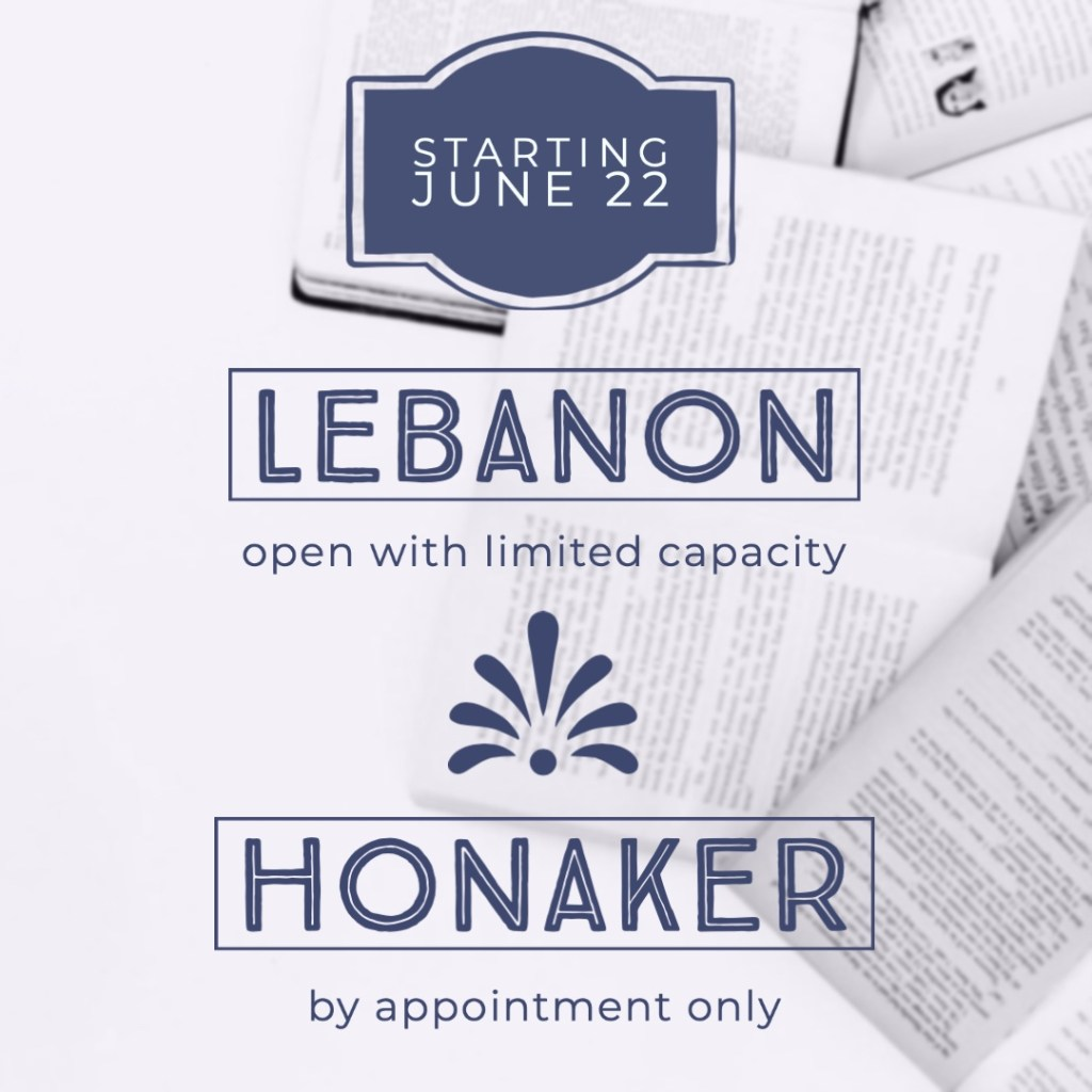 Starting June 22, Honaker Community Library will be open by appointment. The Lebanon Library is open with limited capacity.