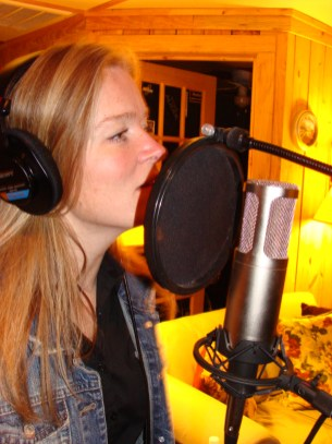 Kristi tracking her vocals