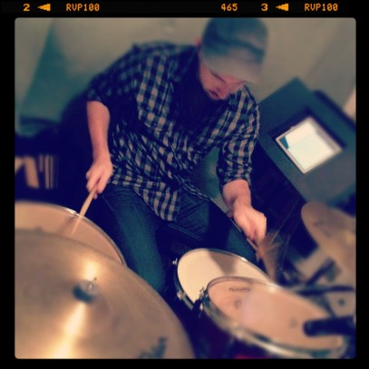 James Poindexter in the drum isolation room