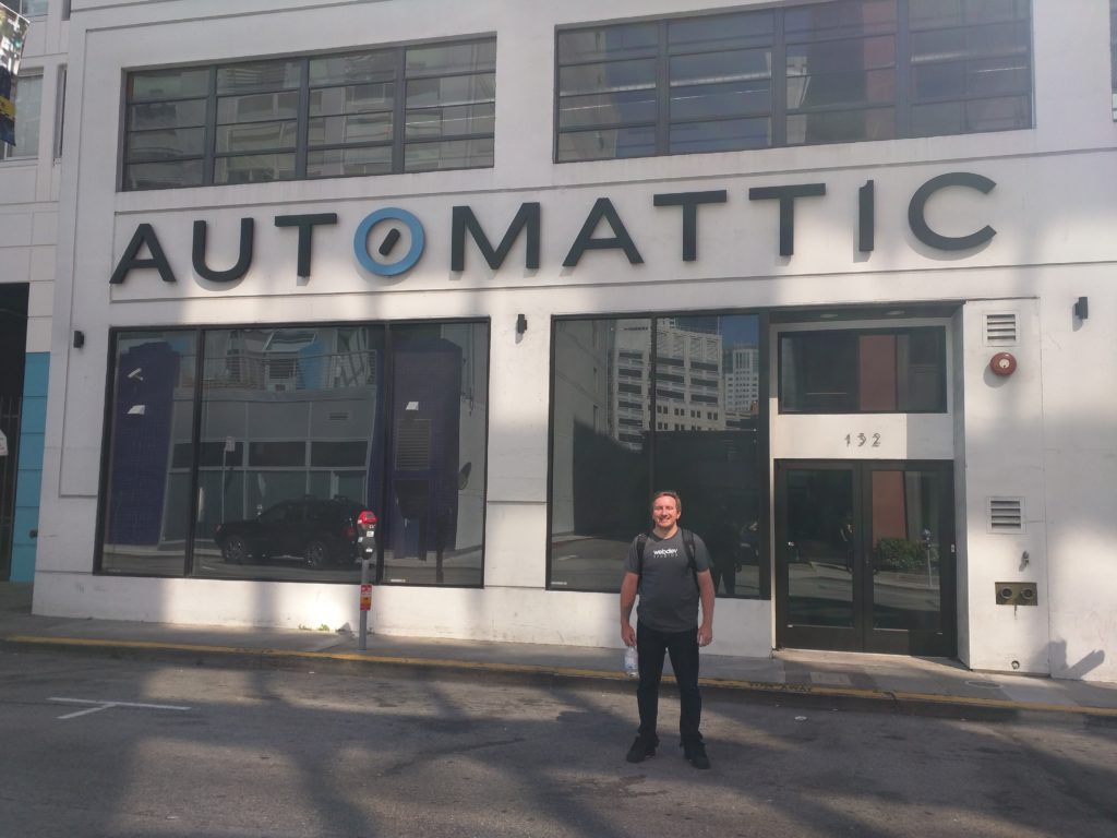 Russell in front of the Automattic Building in San Fransico