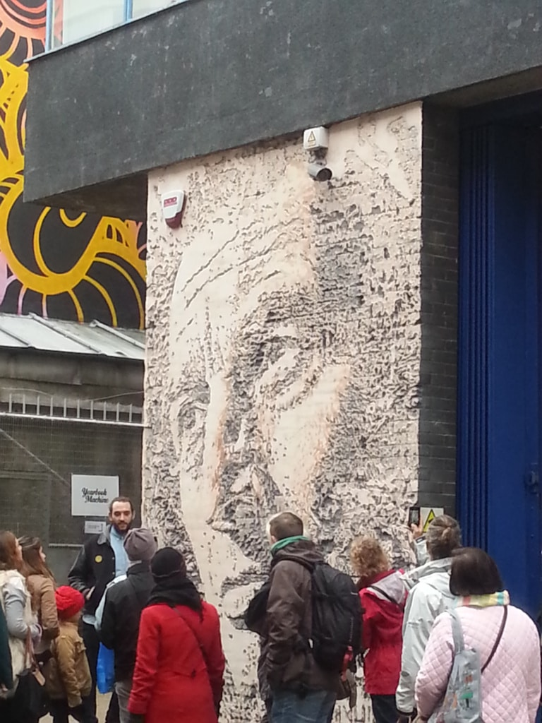 A wider shot of the jackhammer art