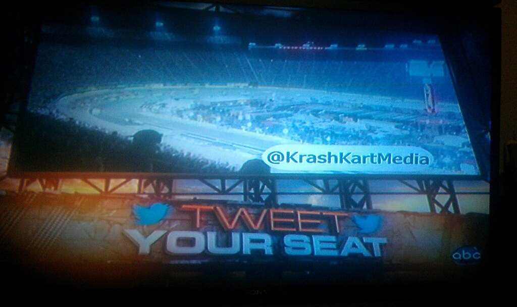 My twitter handle was used on a Nascar broadcast