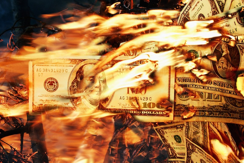set money on fire