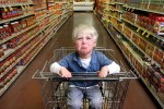 Kid having tantrum in supermarket