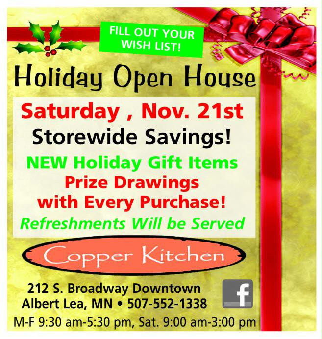 Holiday Open House at Copper Kitchen in Albert Lea, MN