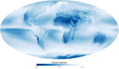 Global cloud cover 2011-2015 few blue skies over the oceans