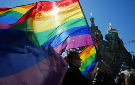 2013: gay rights activists carry rainbow flags as they march during a May Day rally in St Petersburg.