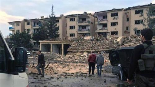 This photo taken on March 4, 2016 shows the scene after a car bombing and rocket attacks in Nusaybin district of Mardin province.