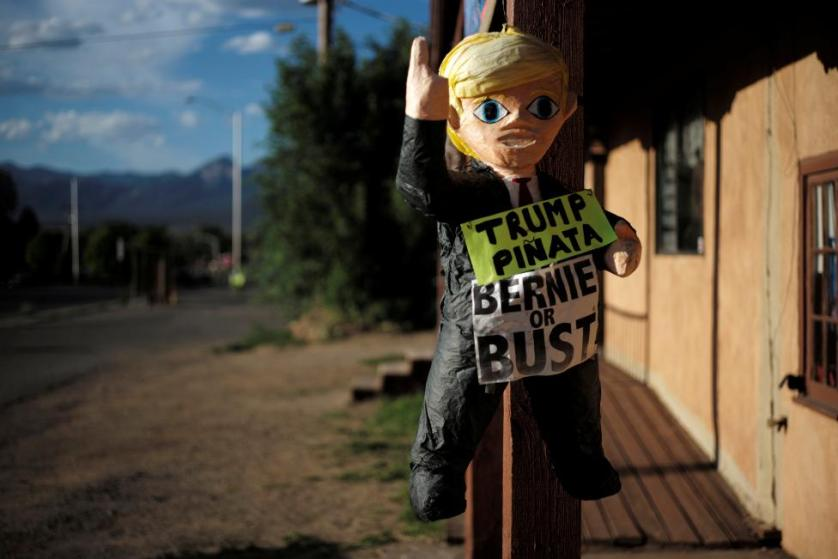 A pinata of Donald Trump hangs outside offices for Bernie Sanders in Taos, New Mexico, June 2, 2016. REUTERS/Brian Snyder