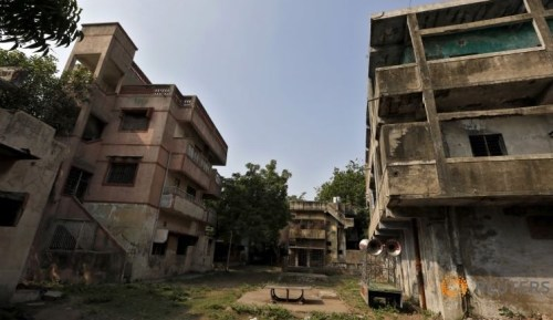 The ancestral home (C) of Zakia Jafri, whose late husband, a lawmaker for the Congress party which now sits in opposition, and was hacked to death by a Hindu mob in riots, is seen at the Gulbarg Society, a Muslim owned residential area, in Ahmedabad, India, September 16, 2015.