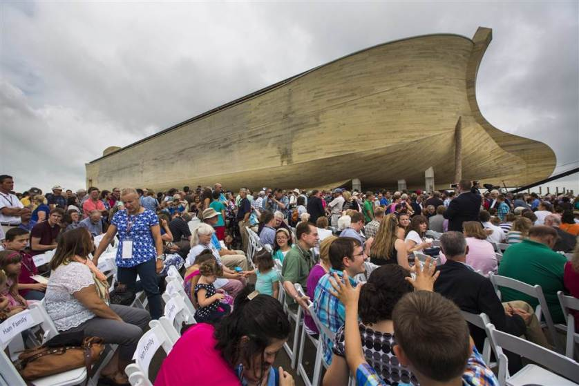 Visitors gather outside Ark Encounter in Williamstown, Kentucky on July 5. A 510-foot-long, $100 million Noah's ark attraction built by Christians who say the biblical story really happened opened in Kentucky this week. The ark is built based on dimensions in the Bible. Inside are museum-style exhibits: displays of Noah's family along with rows of cages containing animal replicas, including dinosaurs.