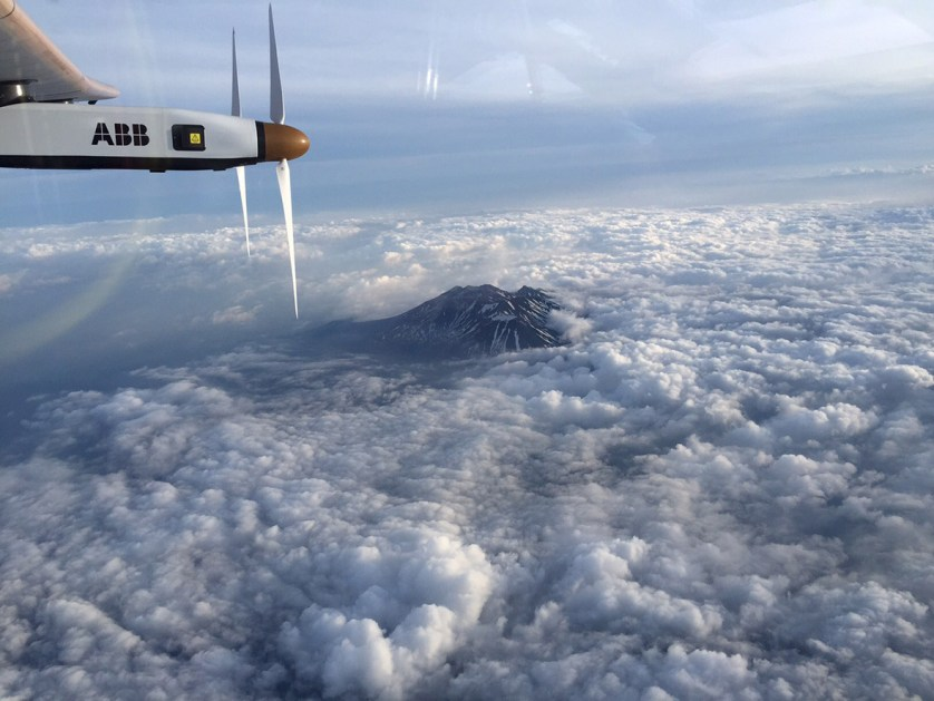 1 June 2015: The Nagano mountain area is photographed by Swiss pilot Andre Borschberg in the cockpit of Solar Impulse 2. The solar-powered plane cut short the seventh leg of its 35,000km journey, landing in Nagoya, western Japan, due to bad weather