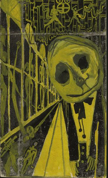 Eugene Gabritschevsky, Untitled, 1947, gouache on paper and red chalk on paper, 22 x 13 cm. Collection de l'Art Brut Lausanne; ©Atelier de numérisation – Ville de Lausanne Amélie Blanc Caroline Smyrliadis Collection de l'Art Brut Lausanne.
