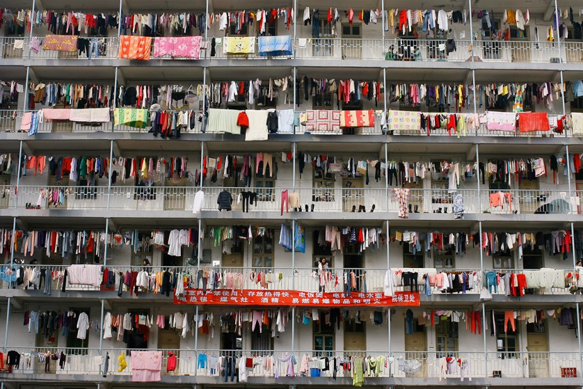 Laundry hangs outside a student dormitory at a college in Wuhan, Hubei province, China