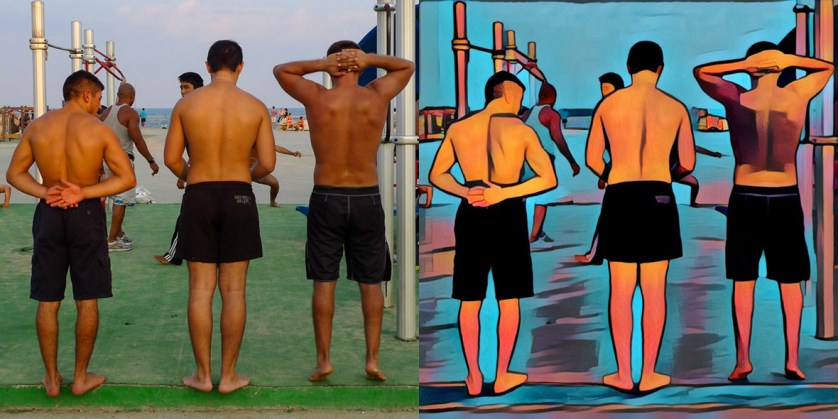 A photo of three guys working out at a gym on the beach in Barcelona, before and after Prisma