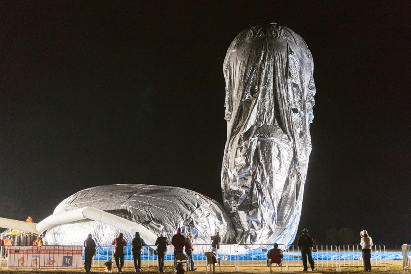 The balloon of Russian adventurer Fedor Konyukhov is inflated