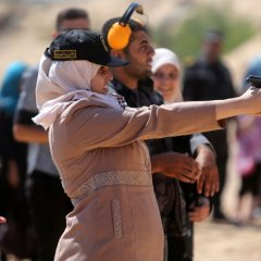 Palestinian girls take part in training session in Khan Younis
