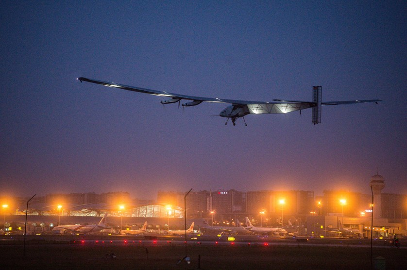 21 April 2015: Solar Impulse 2 leaves Chongqing Jiangbei International Airport for its flight to Nanjing in eastern China