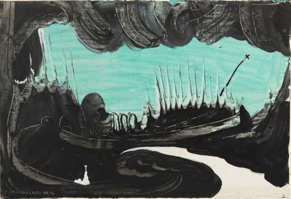 Eugene Gabritschevsky, Untitled, August 1946, gouache on photographic paper, 28.5 x 41.5 cm.