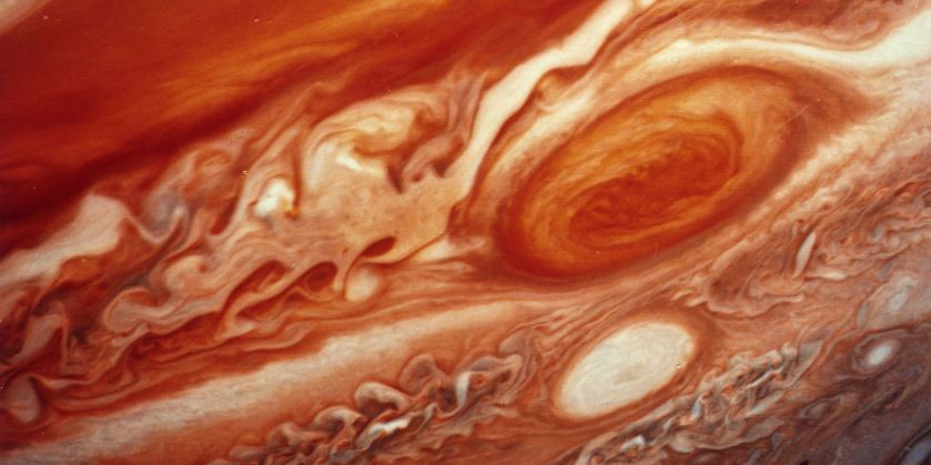 Close-up of Jupiter's Great Red Spot.
