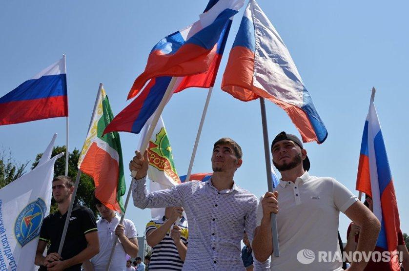 Празднования Дня Государственного флага Российской Федерации в Грозном.