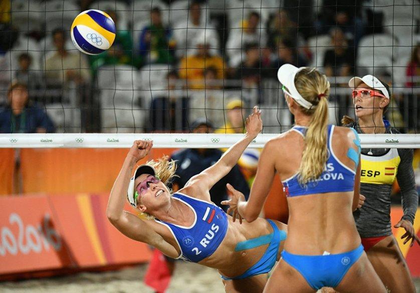 Российская волейболистка Евгения Уколова во время выступления на Олимпийских играх в Рио-де-Жанейро.