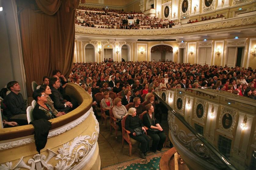 """ITAR-TASS 44: MOSCOW, RUSSIA. NOVEMBER 17. People listen to the premiere of Georgian composer Giya Kancheli's 'Once upon a time' work performed by conductor Yuri Bashmet and the Moscow Soloists chamber ensemble at the Moscow Tchaikovsky State Conservatory's Great Hall. (Photo ITAR-TASS / Valery Sharifulin) 44. Ðîññèÿ. Ìîñêâà. 17 íîÿáðÿ. Çðèòåëè íà ïðåìüåðå ïðîèçâåäåíèÿ êîìïîçèòîðà Ãèè Êàí÷åëè """"Îäíàæäû"""" â èñïîëíåíèè äèðèæåðà Þðèÿ Áàøìåòà è àíñàìáëÿ """"Ñîëèñòû Ìîñêâû"""" â Áîëüøîì çàëå Ìîñêîâñêîé êîíñåðâàòîðèè. Ôîòî ÈÒÀÐ-ÒÀÑÑ/ Âàëåðèé Øàðèôóëèí"""