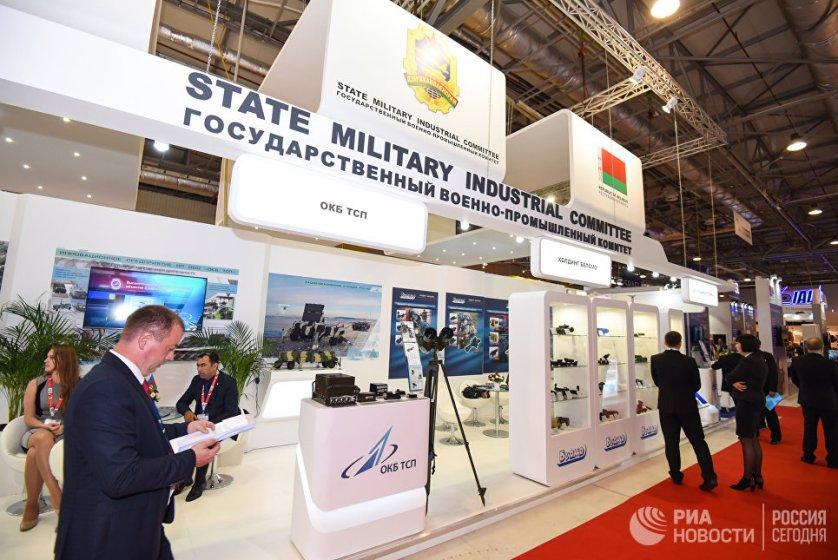 Павильон белорусского государственного военно-промышленного комитета на выставке вооружений и боевой техники ADEX-2016 в Баку.