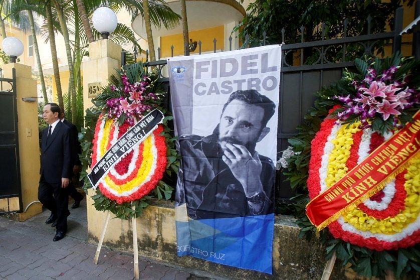 Запись в книге соболезнований в посольстве Кубы в Ханое оставил президент Вьетнама Чан Дай Куанг.