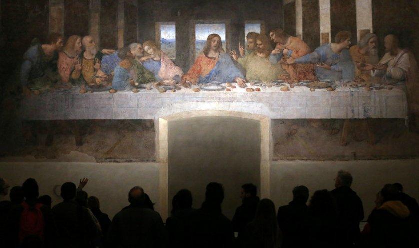 """""""Тайная вечеря"""" Леонардо да Винчи в трапезной церкви Санта-Мария-делле-Грацие, главной церкви доминиканского монастыря в западной части Милана."""