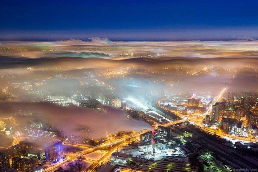 Вид на Москву с Останкинской телебашни.
