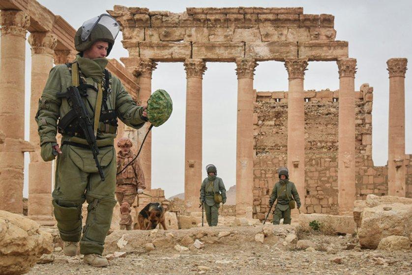 Саперы Международного противоминного центра российских Вооруженных сил разминируют историческую часть древней Пальмиры.