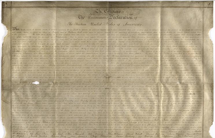 В Великобритании обнаружили копию Декларации независимости США
