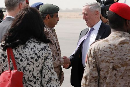 Главу Пентагона Джеймса Мэттиса встречают в Эр-Рияде.