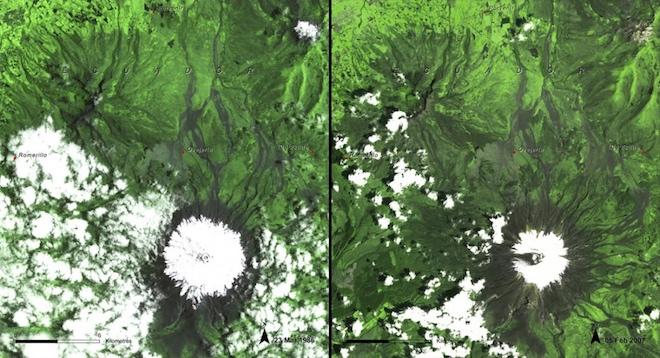 Эти кадры документируют тающий лед в Эквадоре с марта 1986 года по февраль 2007 года. © NASA