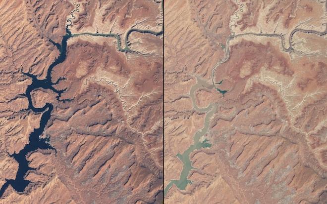 Реки сокращаются в Аризоне и Юте. Эти изображения сравнивают речную систему штатов в марте 1999 года и в мае 2014 года. © NASA