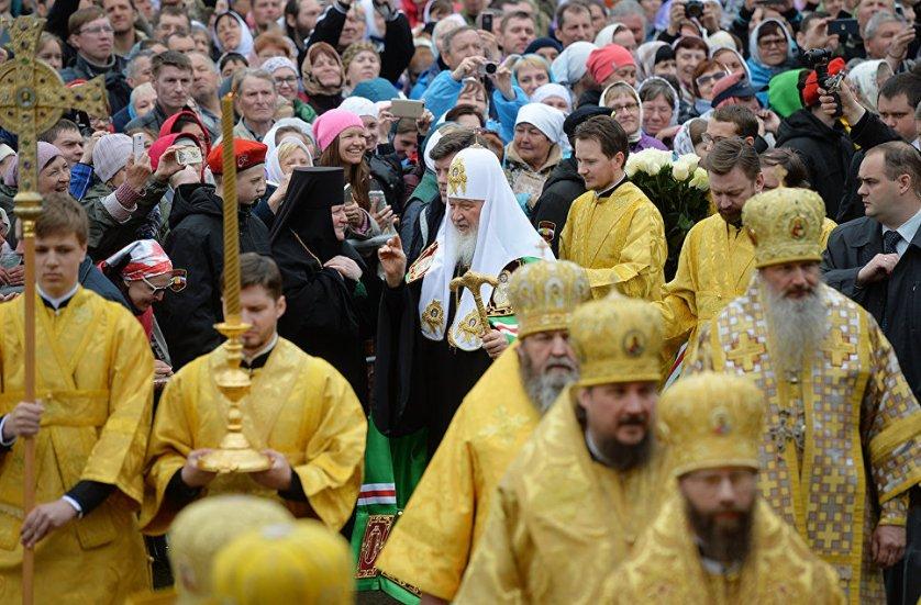 Впервые в истории в шествии участвовал патриарх Московский и всея Руси.