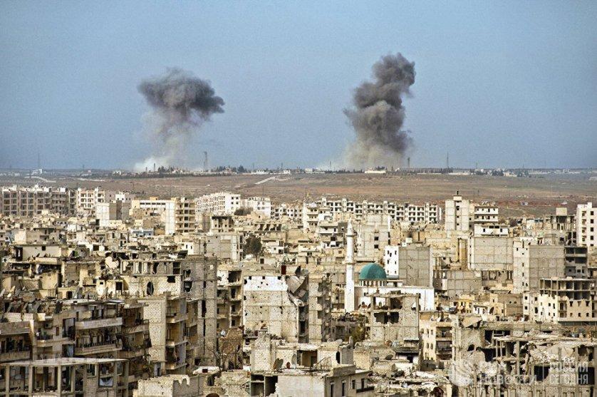 Вид на разрушенные кварталы Алеппо, несколько лет назад это был первый по величине город Сирии. 18.02.2016.