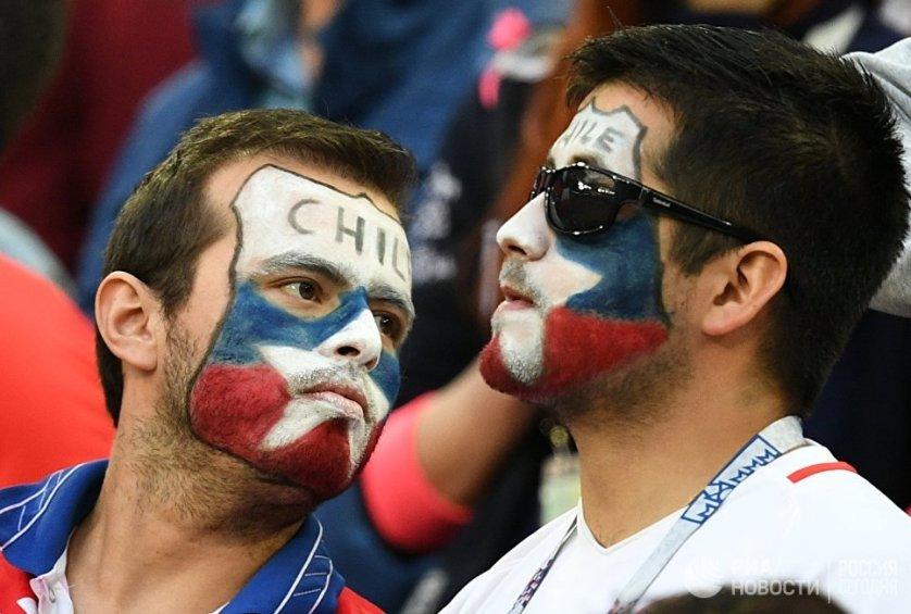 Встреча завершилась в пользу подопечных Йоахима Лева со счетом 0:1. На фото: болельщики сборной Чили.