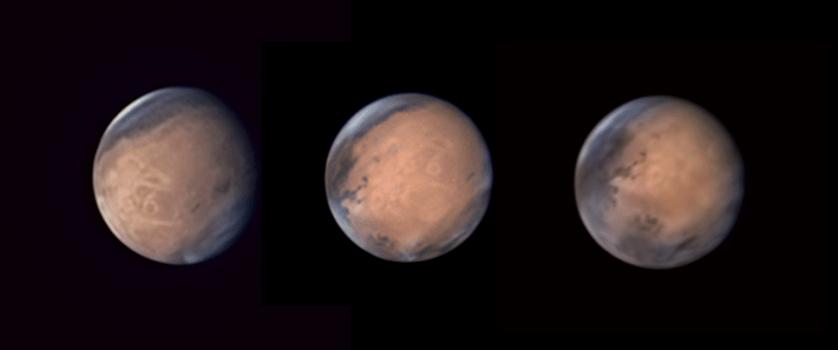 """Работа фотографа Avani Soares """"Вращение Олимпа"""" (Brief Rotation of Mount Olympus). В серии фотографий Марса, сделанных между 1 июня и 3 июля 2016 года, гора Олимп (самый высокий вулкан Солнечной системы) запечатлена в трех разных положениях."""