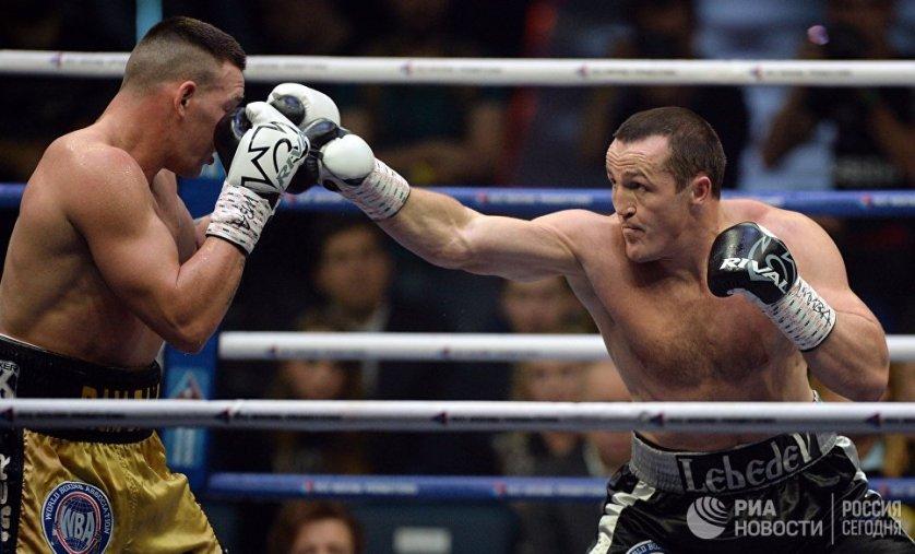 Бой Дениса Лебедева (Россия) и Марка Флэнагана (Австралия) за звание чемпиона мира по боксу среди профессионалов в тяжелом весе по версии Всемирной боксерской ассоциации WBA.