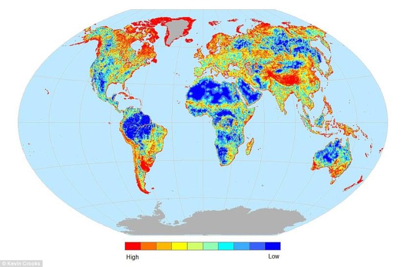 Красным отмечены территории с наибольшей фрагментацией мест обитания различных видов, PNAS