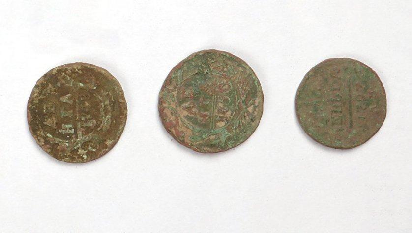 Монеты из меди, найденный при работах в Зарядье. Россия. XVIII век