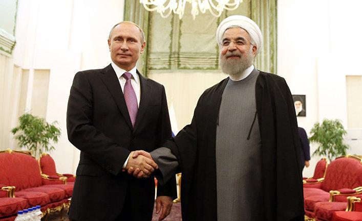 Президент России Владимир Путин и президент Ирана Хасан Рухани на встрече в Тегенане, Иран.