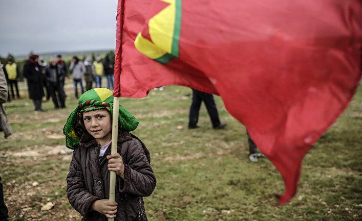 Мальчик из семьи сирийских курдов держит флаг Курдистана во время празднования Навруза в городе Кобани, Сирия.