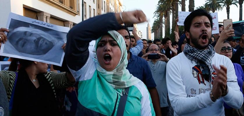 Акция протеста в связи с гибелью торговца рыбой в городе Рабат, Марокко. 30 октября 2016