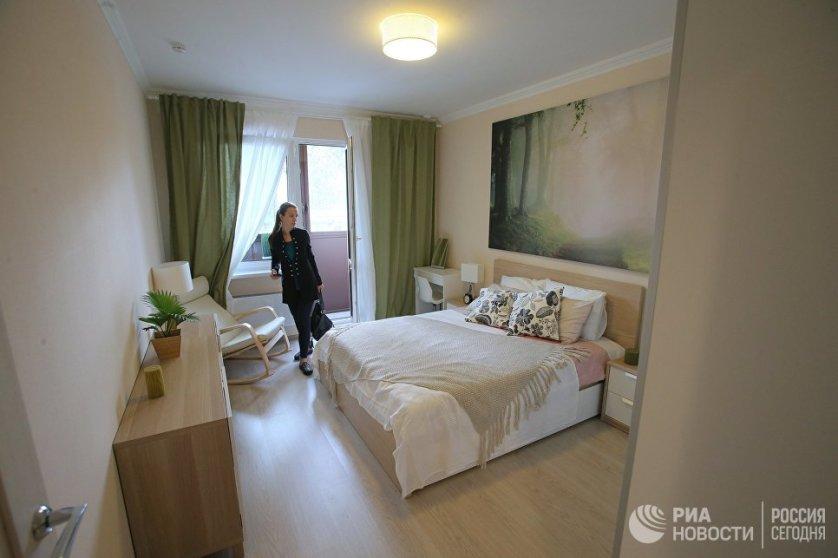 Спальня типовой 2-комнатной квартиры, предназначенной для переселения по программе реновации.