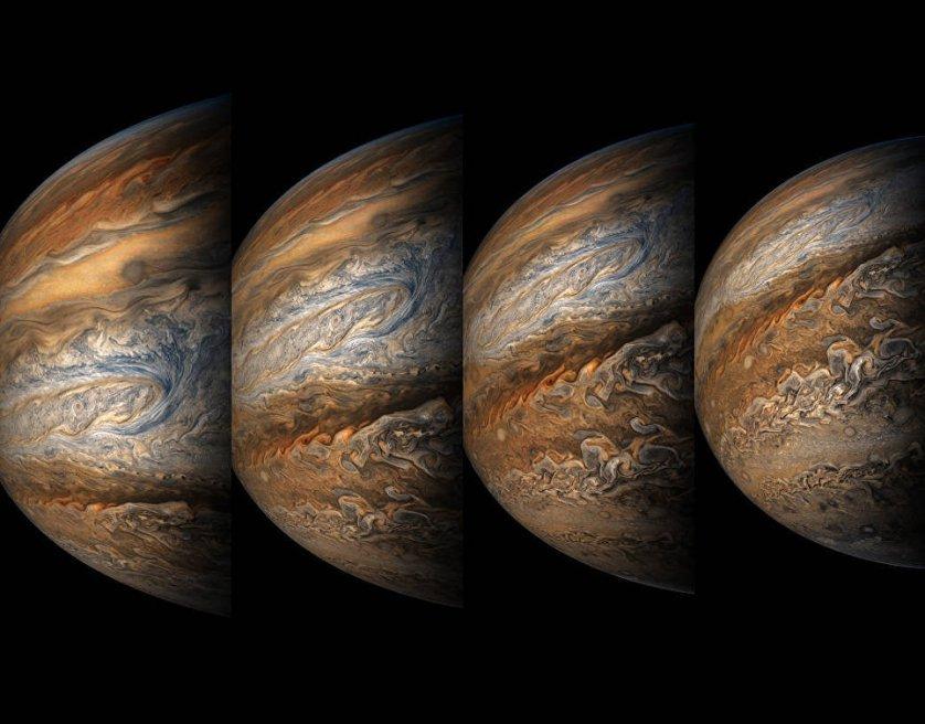 Снимок Юпитера, сделанный аппаратом Juno 14 сентября. Зонду Juno удалось выяснить причину вспышек на полюсах Юпитера. Оказалось, что полярные сияния возникают, когда испускаемые Солнцем заряженные частицы солнечного ветра сталкиваются с магнитным полем планеты и начинают двигаться вдоль силовых линий. В районе магнитных полюсов частицы попадают в атмосферу и вызывают ее свечение, которое и называют полярным сиянием.