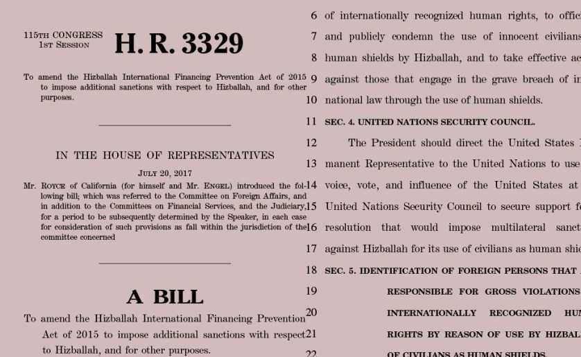 U.S sanctions against Hezbollah (H.R.3342 – H.R.3329)