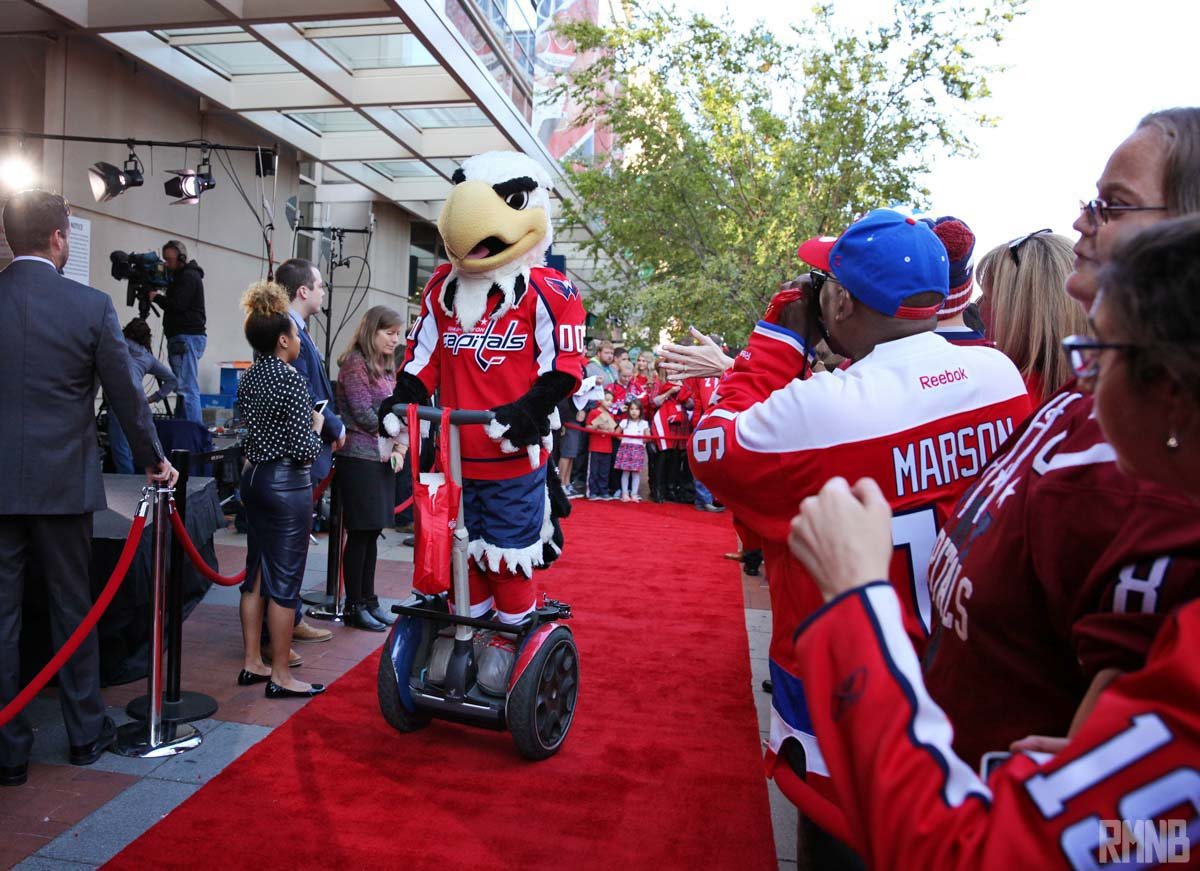 Mascot Slapshot arrives on a segway